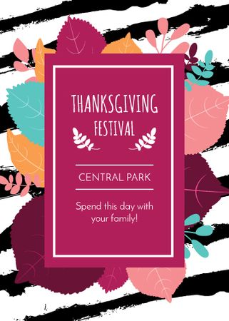 Thanksgiving Festival Frame with Autumn Leaves Flayer Design Template