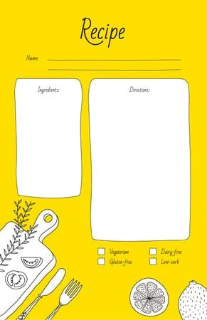 Template di design Vegetables on Cutting Board with Сutlery Recipe Card