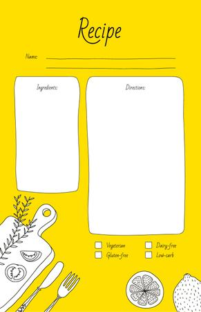 Plantilla de diseño de Vegetables on Cutting Board with Сutlery Recipe Card
