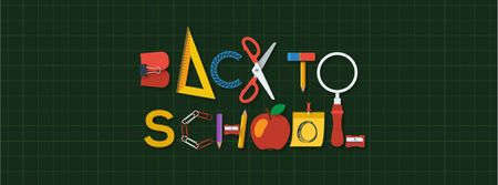 Back to School Inscription with Stationery Facebook Video cover Design Template
