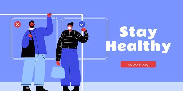 Modèle de visuel Health Safety with People wearing Masks - Twitter