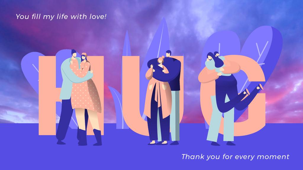 Loving Couples Hugging in Blue — Modelo de projeto