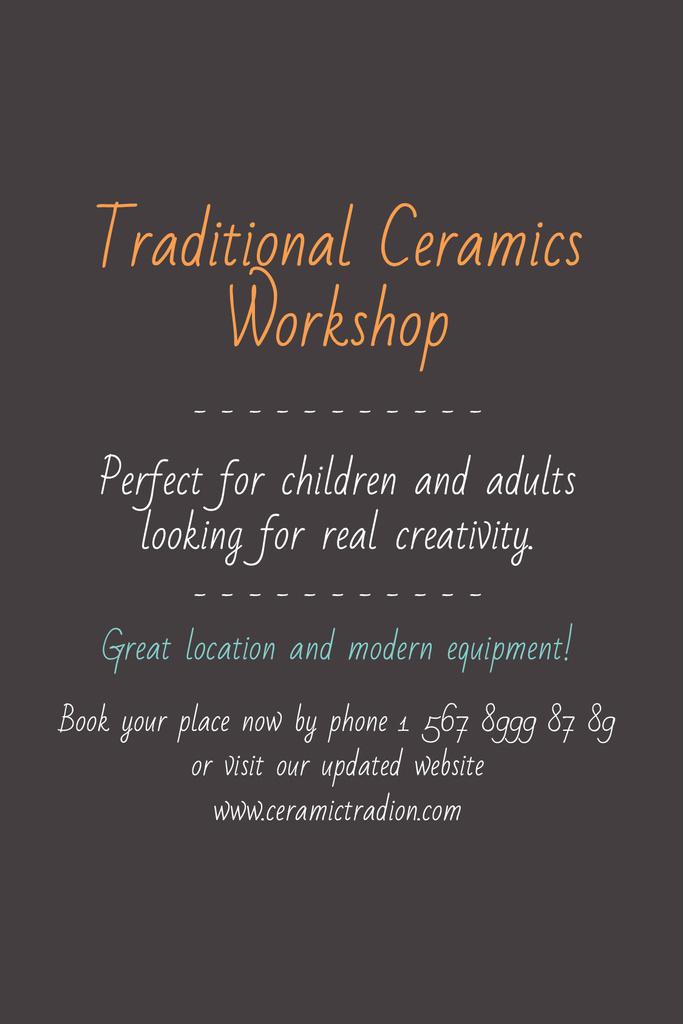 Traditional Ceramics Workshop promotion — ein Design erstellen