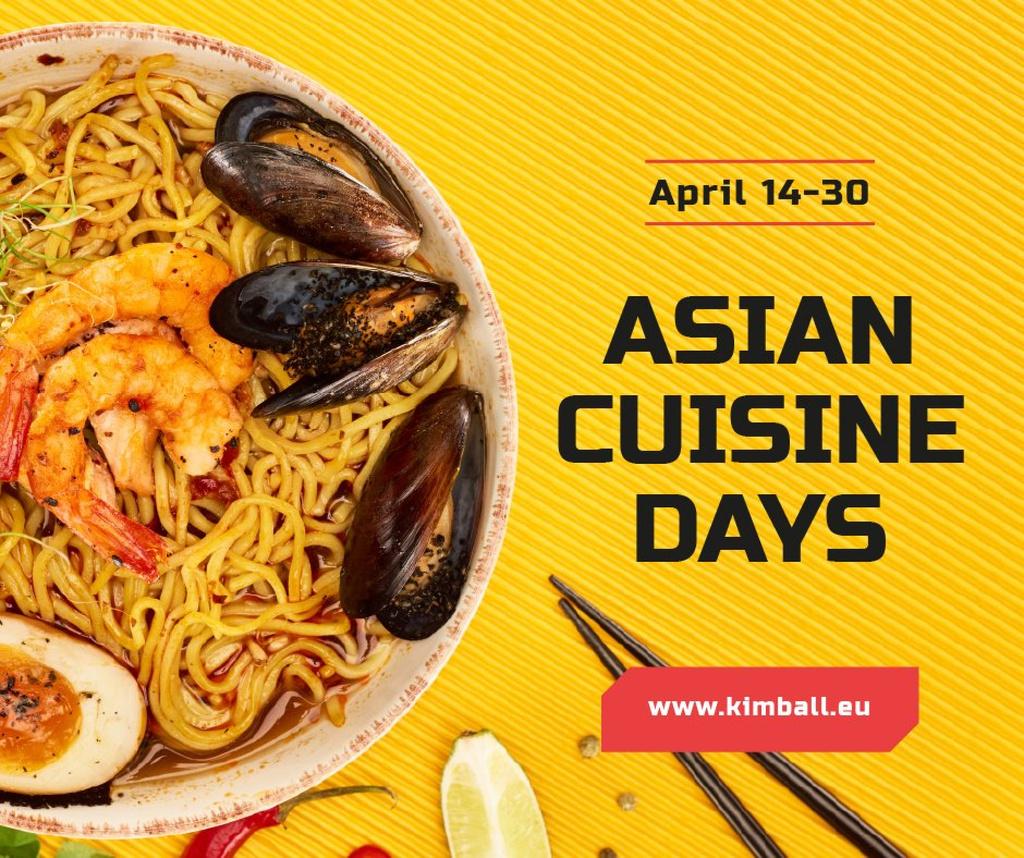 Plantilla de diseño de Asian Cuisine Dish with Noodles Facebook
