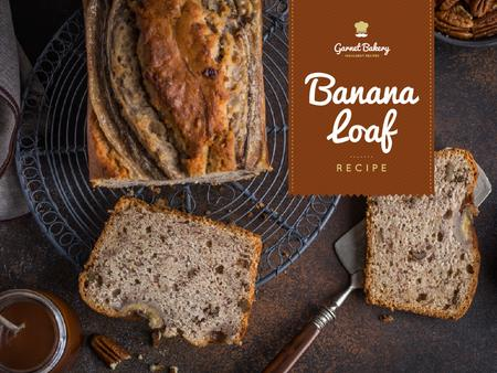 Bakery Ad with Banana Bread Loaf Presentation Tasarım Şablonu