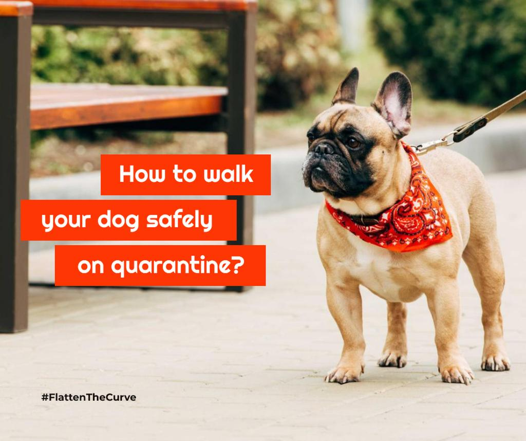 #FlattenTheCurve Walking with Dog during Quarantine Facebookデザインテンプレート
