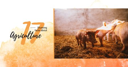 Template di design Little pigs on farm Facebook AD