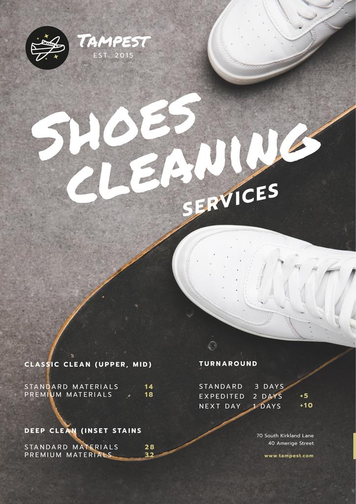 Shoes Cleaning Services Ad Sportsman on Skateboard — Maak een ontwerp