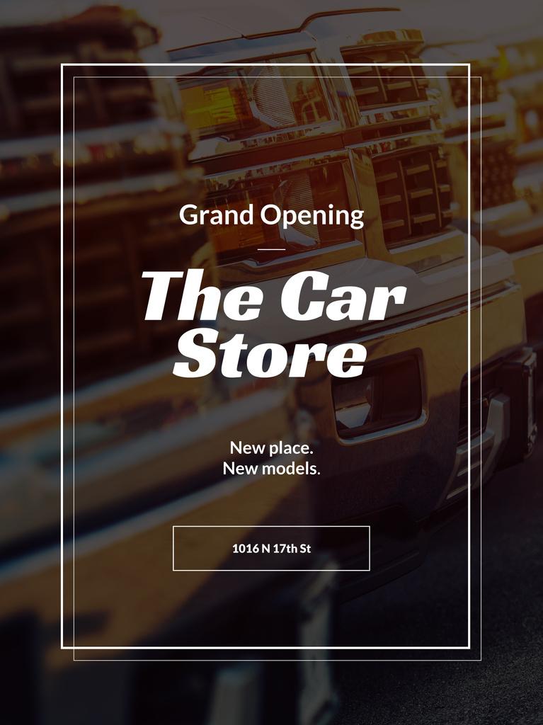 Car store grand opening announcement — Modelo de projeto