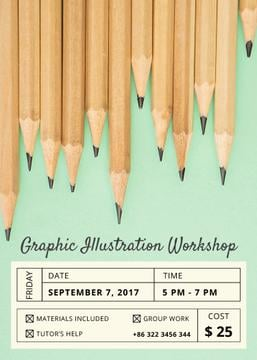 Drawing Workshop Invitation with Graphite Pencils on Blue