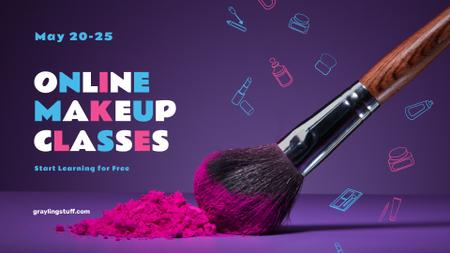 Plantilla de diseño de Online Makeup Classes Ad with Brush and Powder FB event cover