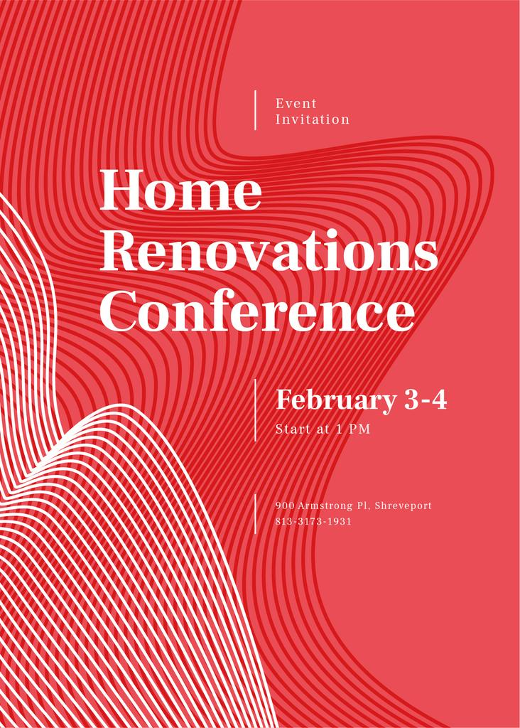 Home Renovation Conference ad on red pattern — Modelo de projeto