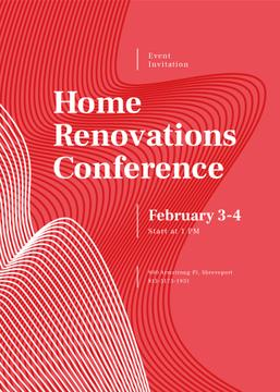 Home Renovation Conference ad on red pattern