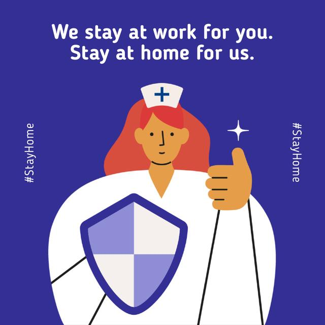#Stayhome Coronavirus awareness with Supporting Doctor Animated Postデザインテンプレート