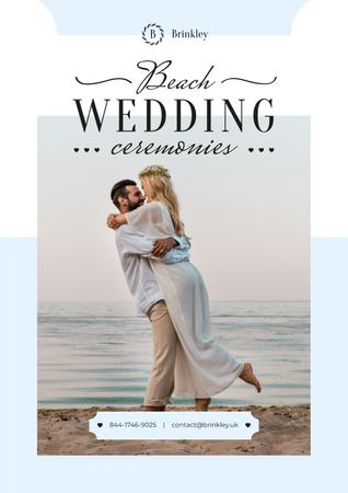 Wedding Ceremonies Organization with Newlyweds at the Beach Poster Tasarım Şablonu