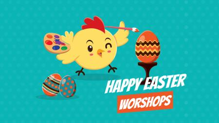 Modèle de visuel Easter Workshop Chick Coloring Egg - Full HD video