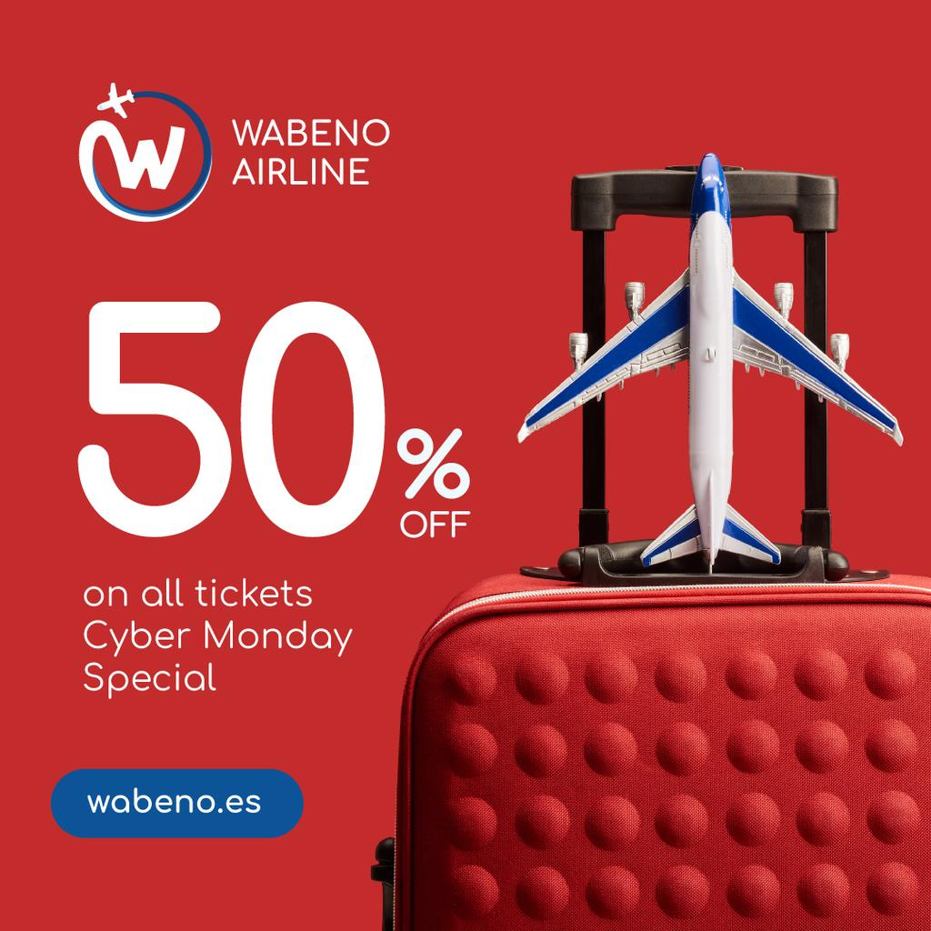 Cyber Monday Airlines Ticket Offer in Red | Instagram Post Template — Створити дизайн