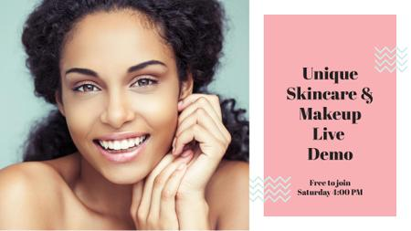 Plantilla de diseño de Beauty Quote with smiling Woman with glowing Skin FB event cover