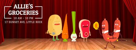 Funny groceries and sausage characters Facebook Video cover Modelo de Design