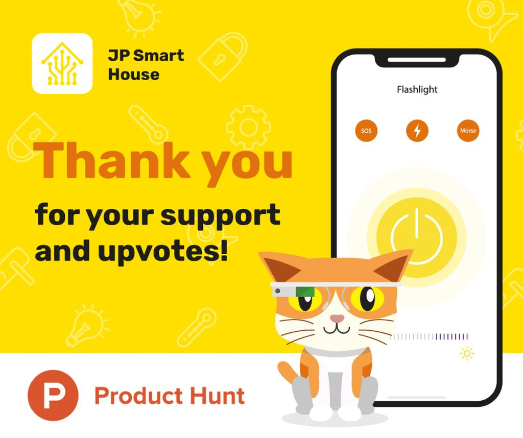 Product Hunt Promotion App Interface on Screen | Facebook Post Template — Crear un diseño