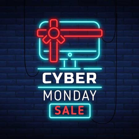 Cyber Monday with Neon sign with gifted computer Animated Post – шаблон для дизайна
