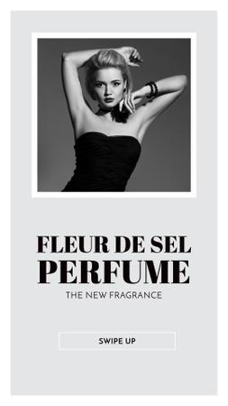 Perfume ad with Fashionable Woman in Black Instagram Story Modelo de Design