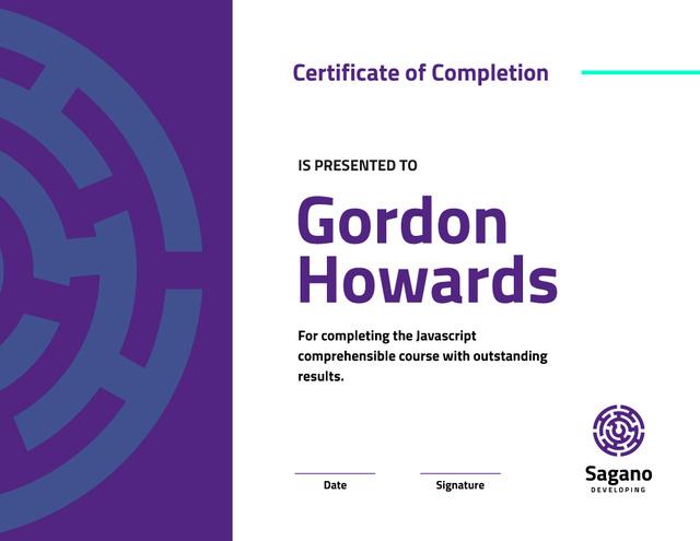 Modèle de visuel IT course Completion in Blue - Certificate