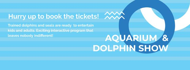 Aquarium & Dolphin show Facebook cover Modelo de Design