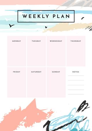 Weekly Plan on Ocean Landscape Painting Schedule Planner – шаблон для дизайна