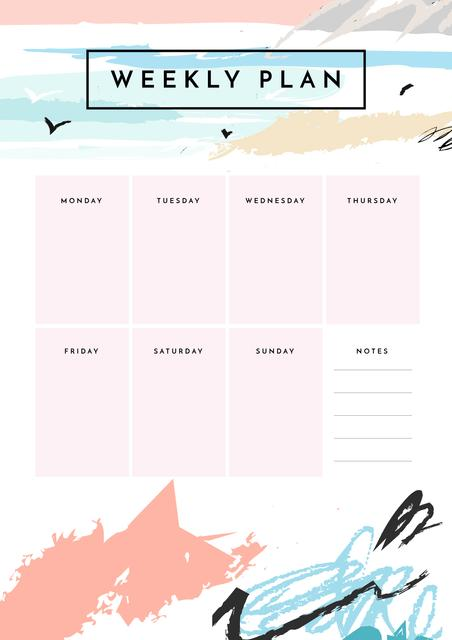 Weekly Plan on Ocean Landscape Painting Schedule Plannerデザインテンプレート