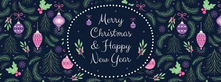 Modèle de visuel Merry Christmas Greeting - Facebook cover