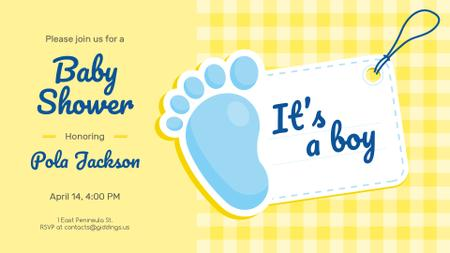 Plantilla de diseño de Baby Shower invitation with Foot and Tag FB event cover