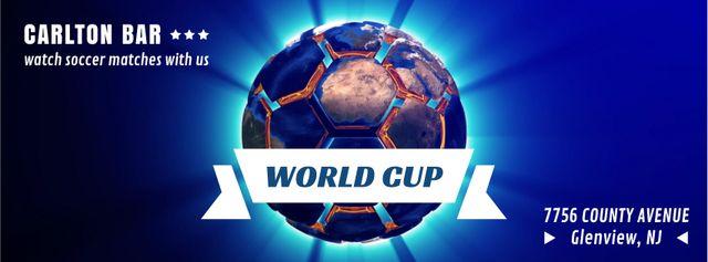 Spinning Earth in shape of soccer ball Facebook Video cover Modelo de Design