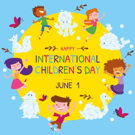 Ontwerpsjabloon van Instagram van Happy little kids in circle on Children's Day