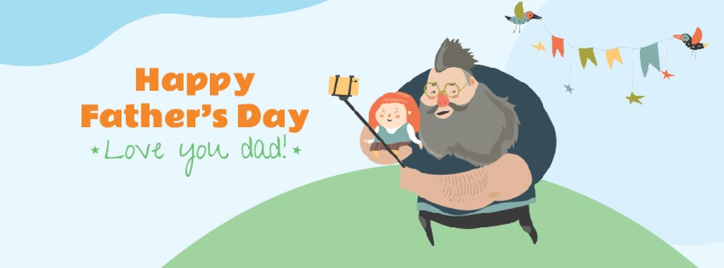 Father's Day Dad with daughter taking selfie — Crear un diseño