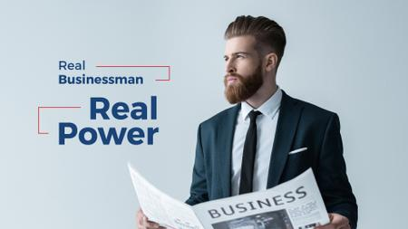 Designvorlage Handsome businessman holding newspaper für Presentation Wide