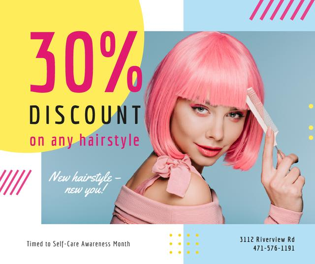 Template di design Self-Care Awareness Month Hairstyle Offer Girl with Pink Hair Facebook