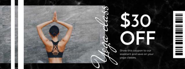 Ontwerpsjabloon van Coupon van Yoga Classes offer