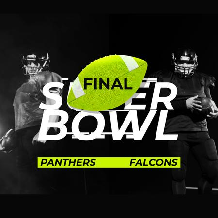 Super Bowl Match Announcement with Players in Uniform Animated Postデザインテンプレート