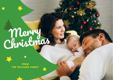 Merry Christmas Greeting Family with Baby by Fir Tree