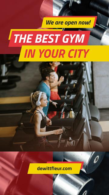 Modèle de visuel People training on treadmills - Instagram Story