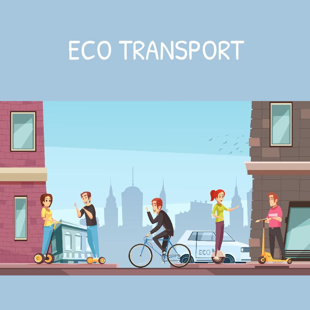 People using electric vehicles in city — Modelo de projeto