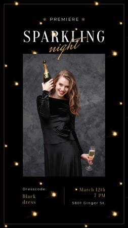Plantilla de diseño de Woman in Holiday dress holding Champagne Instagram Story