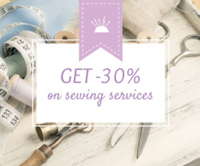 Plantilla de diseño de Sewing services sale Medium Rectangle