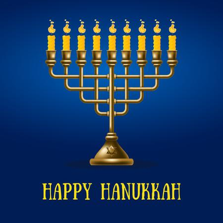 Plantilla de diseño de Happy Hanukkah menorah on Blue Animated Post