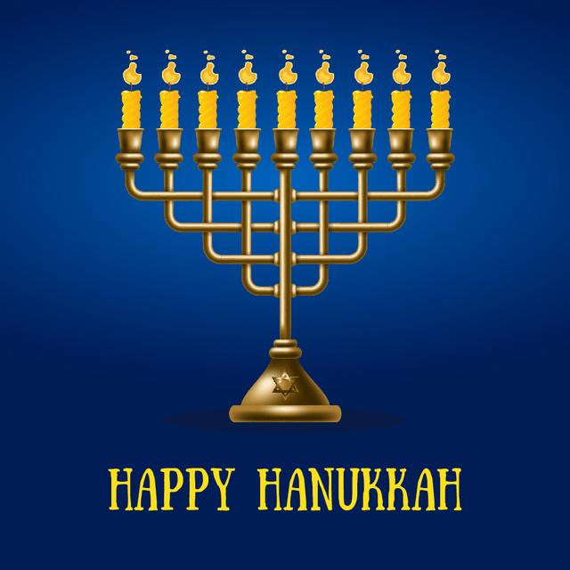 Plantilla de diseño de Happy Hanukkah menorah on Blue Animated Post