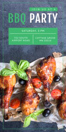Plantilla de diseño de BBQ Party Invitation Grilled Chicken Graphic