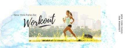 Girl running outdoors Facebook cover Modelo de Design