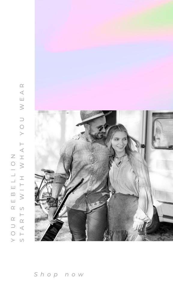 Stylish Couple hugging near trailer — Создать дизайн