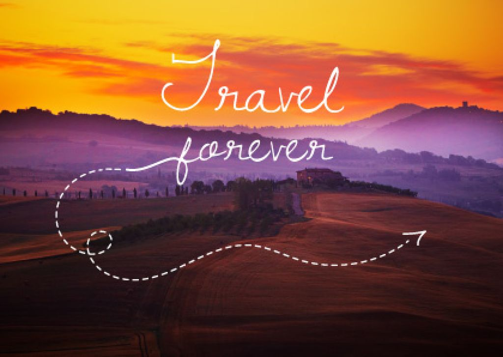 Motivational Travel Quote with Sunset Landscape Postcard Design Template